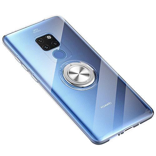 Hülle für Huawei Mate 20 Pro, Huawei Mate 20 Ultra Dünn Clear Hülle Überzug 360 ° Verdrehbare Ring+Stand Magnetic Autohalterung Tasche Hüllen für Huawei Mate 20 Pro (Klar, Huawei Mate 20)