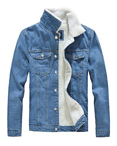 Hombre Denim Chaqueta De Vaquero Manga Larga Abrigo De Invierno Cálido Jean Jacket Azul Claro L