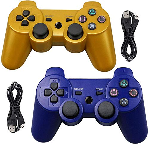 Tidoom PS3 Controller Wireless Playstation 3 Controller Bluetooth Gamepad Compatible for PS3 Controller Joystick with Charging Cables Blue Gold 2 Pack