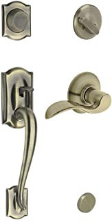 Schlage F93CAM609ACCRH Camelot Inactive Handleset with Accent Right-handed Lever, Antique Brass