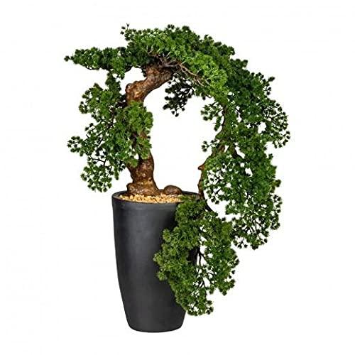 Planta artificial en maceta, bonsái almenze Han-Kengai verde, altura 90 cm