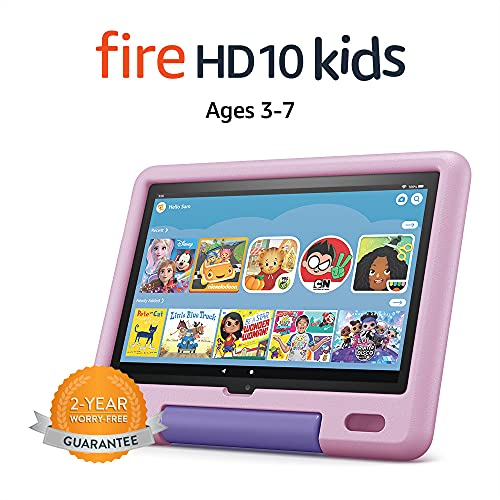 All-new Fire HD 10 Kids tablet, 10.1', 1080p Full HD, ages 3–7, 32 GB, Lavender
