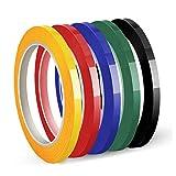 Cinta para Pizarra, Cinta Para Gráficos, Autoadhesiva, 5 mm x 50 m por Rollo, Paquete 5 Rollos (5 Colores)