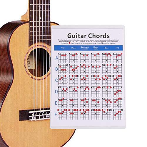 KANUBI Gitarrenakkord-Poster, Gitarren-Aufkleber, Keyboard-Aufkleber, klassische E-Gitarren-Akkorde, Übungskarte für Ukulele-Folk-Gitarren-Akkordtabellen