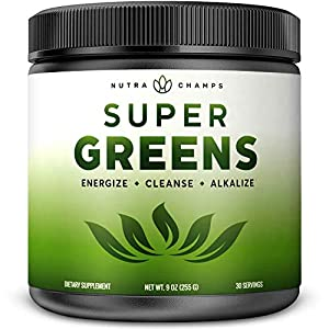 Super Greens Powder Premium Superfood - 20+ Organic Green Veggie Whole Foods - Wheat Grass, Spirulina, Chlorella & More - Antioxidant, Digestive Enzyme & Probiotic Blends | Vegan Juice Supplement by Nutrachamps Inc