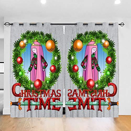 HONGYANW Verdunkelungsvorhänge Adventure Christmas Time Kranz Prinzessin Bubblegum Cartoon Network Ösen Thermoisoliert Raum Verdunkelung Drape für Schlafzimmer Wohnzimmer 132,2 x 182,9 cm