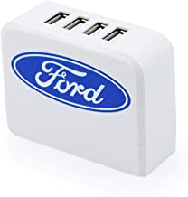 Ford Oval USB Quick Charger, Wall Charger, 4 Charging Port USB Plug for Galaxy S9/ S8/ Note 8, LG V6/ V20, Google Pixel/Nexus, HTC 10, iPhone 11/Pro/Max/XS/XR/X/ 8/7+ (White)