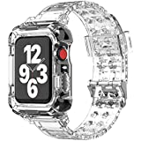 SKYLET Compatible with Apple Watch Bands 40mm 38mm Series 6 5 4 SE 3 2 1 for Men Women with Rugged Bumper Protective Case, Clear Transparent Soft TPU Sport Replacement Crystal iWatch Wristbands