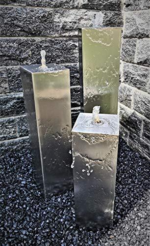 Jürgen Bocker Gartenambiente Säulenbrunnen Wasserspiel eckig 3er-Set Edelstahl matt gebürstet 100/80/60 x 20 cm ohne Becken