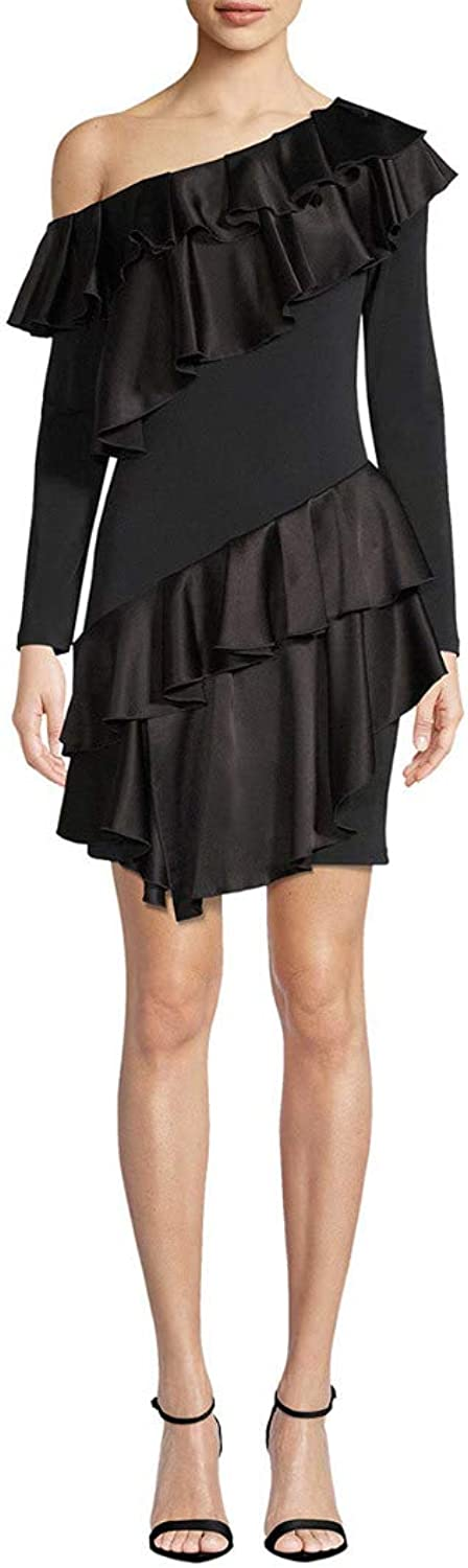 Alice + Olivia Womens Izzy Ruffle One Shoulder Dress Black 2, 4