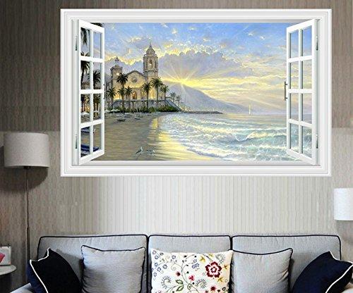 skyllc® DIY Plage fenêtre 3D Castle Sunrise View Amovible Stickers Vinyle Decal Home Decor Déco Art
