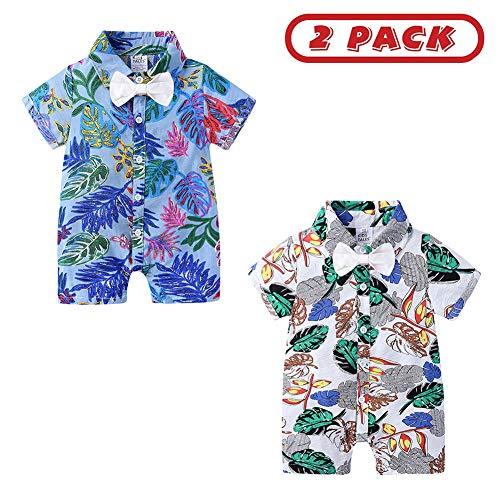 YOJOLO Bébé Garçon Combinaison Été 2 Pack Manches Courtes Coton Imprimé Floral Coton Nouveau-Né Bébé Barboteuses Salopette Tenue Globale Pyjama,E,9~12 M