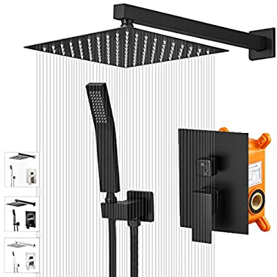 """KEBAOShower System, Shower Faucet Set with 10"""" Square Rainfall Shower Head and Handheld Shower Head,Shower Faucet Rough- in Mixer Valve and Trim Included(10 Inch, Matt Black)"""