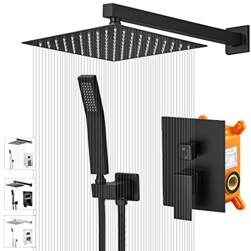 "KEBAO Shower System- Matt Black Shower Faucet Set for Bathroom- State-of-the-art Air Injection Technology- 10"" Square Rain Shower Head- Easy Installation- Eco-Friendly (10 Inch, Matt Black)"