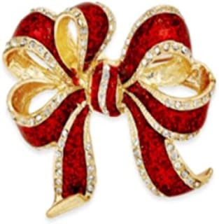 Charter Club Macy's Gold Tone Red Glitter Bow Pin Brooch (2