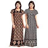 Mudrika Women's Cotton Nighty/Gown (Multicolor) Pack of 2 Pcs