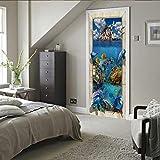 YANGCH Pegatinas Puertas Adhesivo 95x215cm Delfín de aguas profundas de Oyama patrón Interiores Sala de Estar 3D Cuarto de baño Impermeable Actualización Profesional de Vinilo extraíble 3D Etiqueta De
