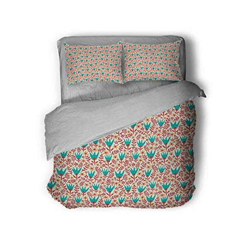 Colorful Hotel Luxury Bed Linen Wild Summer Flowers and Leafage Pattern Daisies and Tulips Doodle Nature Growth Polyester - Soft and Breathable (King) Multicolor