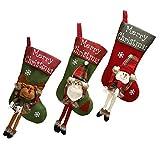 Shanke 3pcs Botas de Navidad Calcetines de Navidad Medias de Decoracoón de Navidad,Santa Claus,...