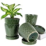 BUYMAX Plant Pots Indoor –5 inch Ceramic Flower Pot with Drainage Hole and Ceramic Tray - Gardening Home Desktop Office Windowsill Decoration Gift, Set of 4 - Plants NOT Included (Patina)