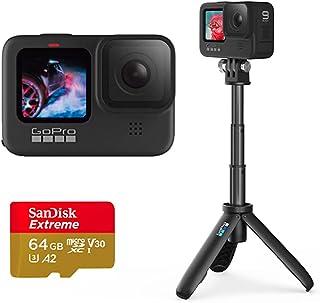 Câmera GoPro HERO9 Black - Kit Home Prime com Mini Bastão Tripé Shorty e Cartão de Memória 64GB Sandisk Extreme