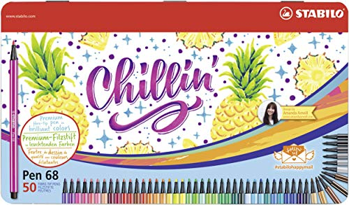 Pennarello Premium - STABILO Pen 68 - 46 Colori assortiti - Scatola in metallo da 50 - Chillin Pineapple Design by Amanda Arneill