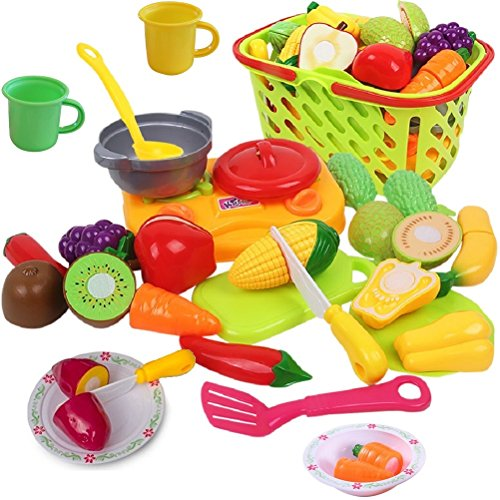 Cutting Play Vegetables and Fruits with Cooking Toys for Toddlers - Includes Beautiful Play Grocery Shopping Basket, Plastic Food Toys, Toy Cut Fruits, Mini Kids Cooktop, Toy Dishes and Utensils
