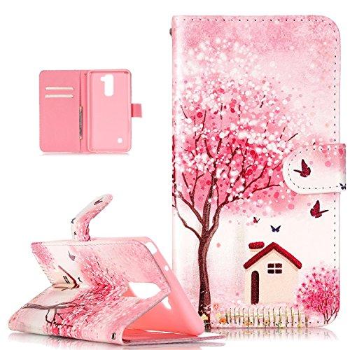 Kompatibel mit LG Stylus 2 Hülle,Bunte Gemalt Malerei PU Lederhülle Handyhülle Taschen Handy Tasche Flip Wallet Ständer Karten Slot Schutzhülle für LG Stylus 2 LS775,Rosa Blumen Baum Schmetterling