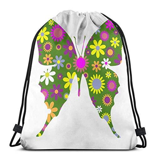 LREFON Gimnasio Bolsas con cordón Mochila Peace Butterfly Sackpack Tote para almacenamiento deportivo Organizador de zapatos Hombro escolar Compras Niños