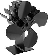 YOUMI Chimenea De Ventilador De 4 Aspas del Ventilador Caliente, Ultra Silencioso Ciclo De Ahorro De Energía del Ventilador De Calefacción, Estufa De Leña/Chimenea/Horno, Calentador De Sitio, Negro