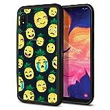 FINCIBO Case Compatible with Samsung Galaxy A10e A102U 5.83 inch 2019, Slim Shock Absorbing TPU Bumper + Clear Hard Protective Case Cover for Galaxy A10e A102U (NOT FIT A10) - Emoji Pineapple Pattern