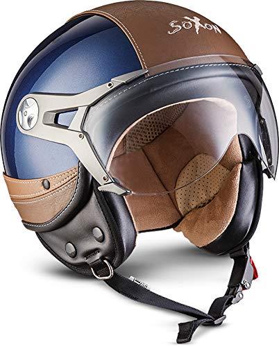 "SOXON® SP-325 Urban ""Blue"" · Jet-Helm · Motorrad-Helm Roller-Helm Scooter-Helm Moped Mofa-Helm Chopper Retro Vespa Vintage Pilot · ECE 22.05 Visier Leather-Design Schnellverschluss Tasche L (59-60cm)"