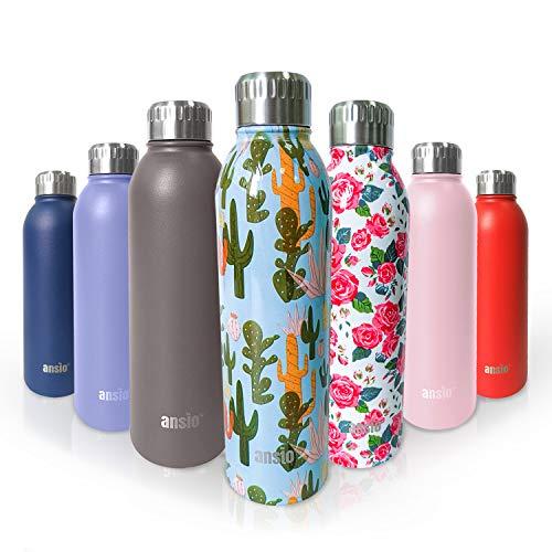 ANSIO Botella agua acero inoxidable,Botella agua 500 Ml,