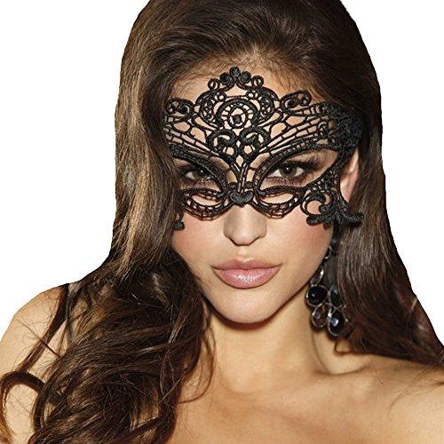 JeVenis Luxury Sexy Lace Augenmaske Prom Mask Maskerade Ball Maske für Kostümparty Cosplay (Black)