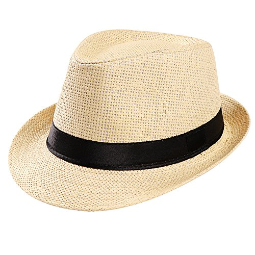 Westeng Sombrero,Sombrero de Paja,Sombrero de Papiro Que Se Encrespa,Sombrero de Playa al Aire Libre del Jazz Sombrero Varón,Sombreros de los Niños,Beige,1PC