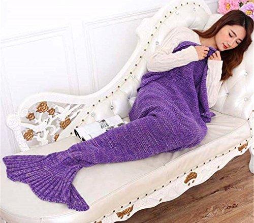 MEDIA WAVE store 3402 Coperta Viola a Forma di Coda di Sirena Trapunta Divano per Adulti 180 x 100 cm