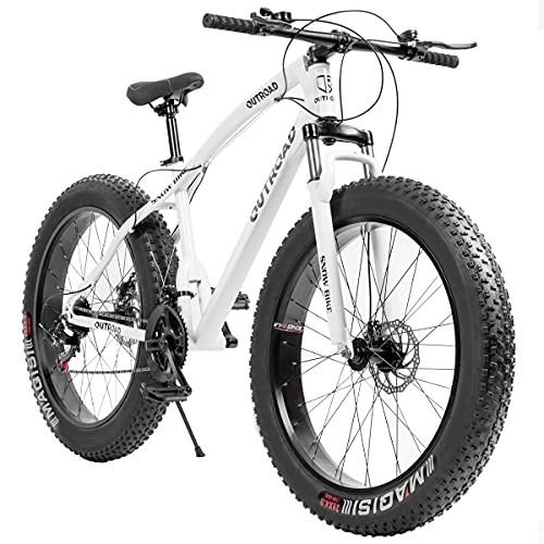Max4out Fat Tire Mountain Bike 21 Speed, with High Carbon Steel Frame, Double Disc Brake and Front Suspension Anti-Slip Bikes with 26 inch Wheel, White