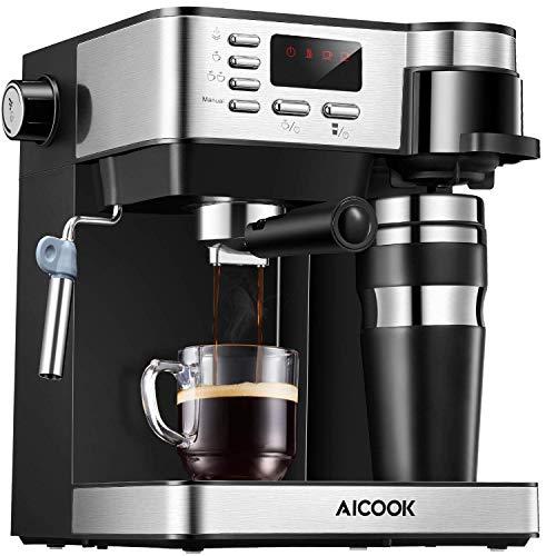 Aicook Cafetera Multifuncion 3 en 1 Espresso, Goteo y Espumador Máquina de...