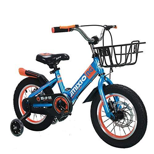 XXHDEE Kinderfahrrad, 14/16/18 Zoll Rücksitzloses Fahrrad, 3-8 Jährige Jungen Und Mädchen Kinderfahrrad (Color : Blue, Size : 16Inch)