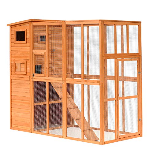 PawHut Large Wooden Outdoor Cat House