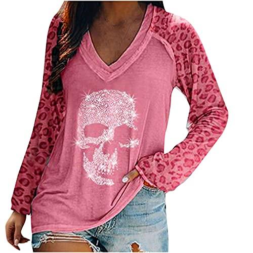 Long Sleeve Women Shinny Skull Tops,Leopard Print Fall Patchwork Slim Sweatshirt,Y2k Loose Fit Workout Trendy Pullover