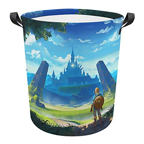 The Legend of Zeldaa - Cesta plegable impermeable de 17.3 pulgadas, cesta para la colada sucia, caja de almacenamiento para colección de juguetes