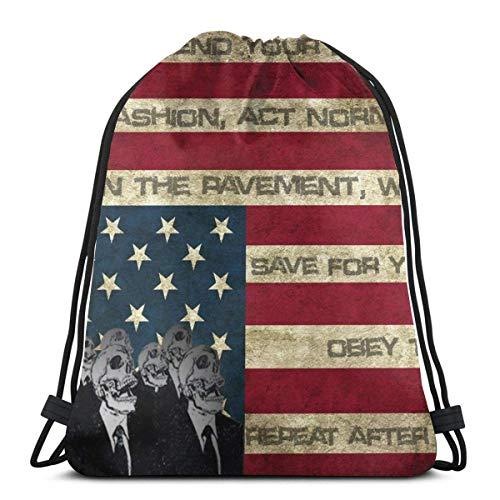 LREFON Gimnasio Bolsas con cordón Mochila Bandera americana Sackpack Tote para viajar Almacenamiento Organizador de zapatos Baloncesto Botella de agua Niños