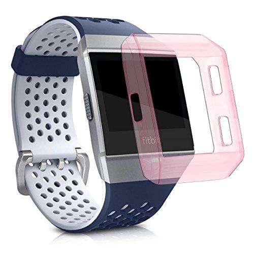 kwmobile Funda Protectora Compatible con Reloj Fitbit Ionic - Protector para Pulsera de Actividad en Rosa Claro/Transparente