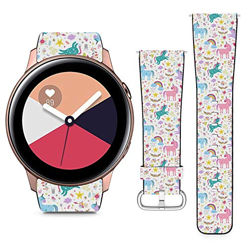 Compatible with Samsung Galaxy Watch Active // 20mm Leather Replacement Bracelet Strap Wristband with Quick Release Pins // Unicorns
