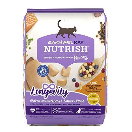Rachael Ray Nutrish Longevity Premium Natural Dry Cat Food, Chicken with Chickpeas & Salmon Recipe, 14 Pounds