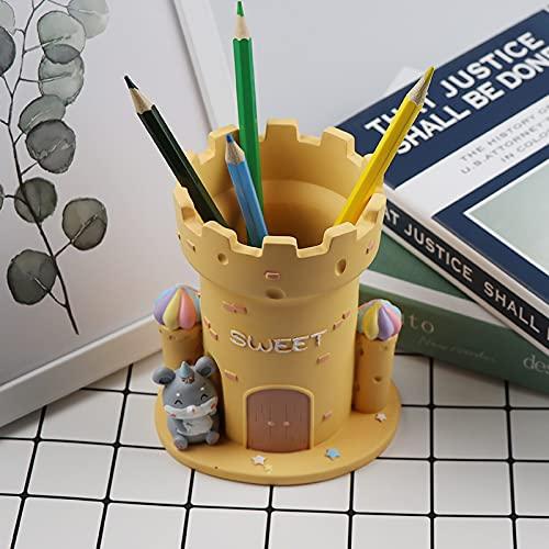 Creative Personalidad Estilo Fortaleza Pen Barrel Craft Resin Pen Inserted Suministros para Estudiantes Suministros De Escritorio Almacenamiento De Bolígrafos