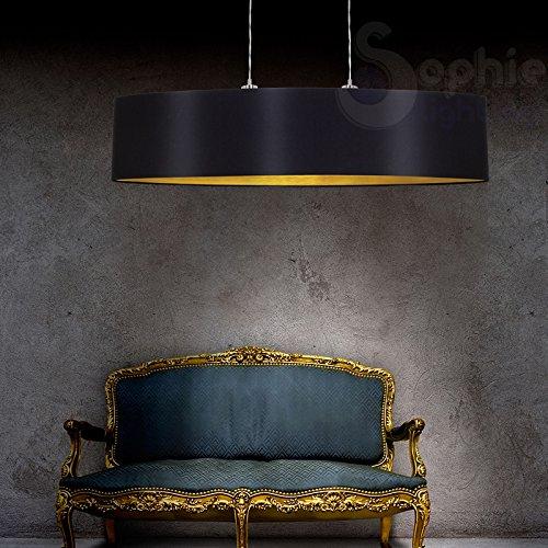 Lustre suspension réglable abat-jour en tissu 78 cm design moderne noir or salle à manger EG 11613 SOPHIE LIGHTING