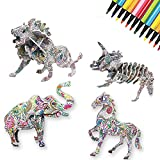 3D Coloring Puzzle Set,4 Animals Puzzles with 12 Pen Markers, Art Coloring Painting 3D Puzzle for Kids Age 7 8 9 10 11 12 Year Old. Fun Creative DIY Toys Gift for Girls and Boy (4 Pack)