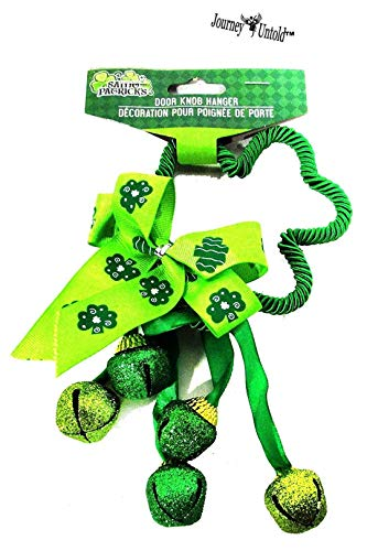 St Patrick Super Fun Cute Kelly Green Door Knob Hanger with Bells